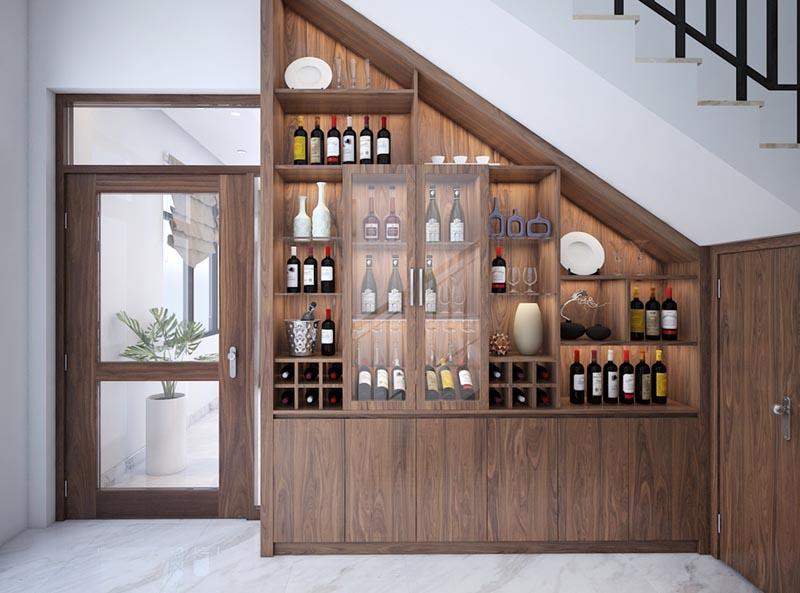 Thiết kế tủ rượu âm tường tại phòng khách, phòng bếp độc đáo nhất